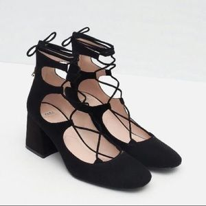 Zara Strappy Lace Maryjanes Block Heel